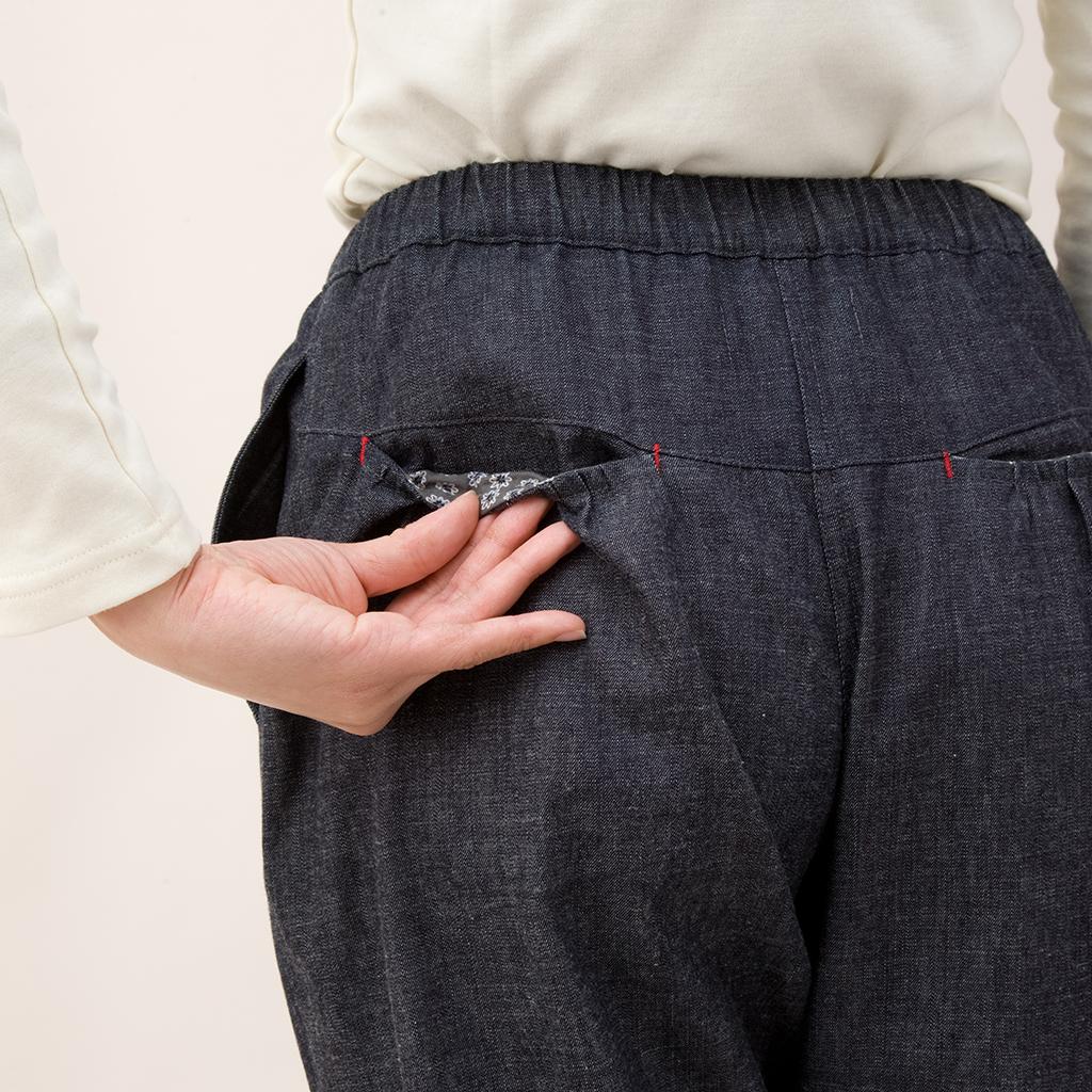 デニムギャザーポケットパンツ